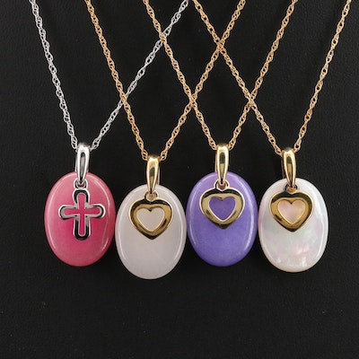 Quartzite and Mother of Pearl Necklaces with Cross, Hearts and Sterling
