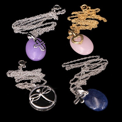 Sterling and Gold-Filled Necklaces Featuring Dragonfly, Heart and Crosses