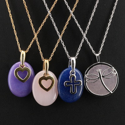 Diamond and Quartzite Necklaces Including Sterling, Cross and Hearts