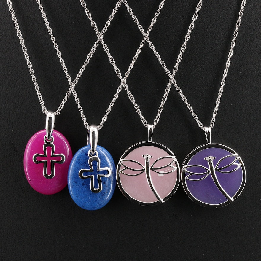 Sterling Diamond and Gemstone Pendant Necklaces with Dragonflies and Crosses