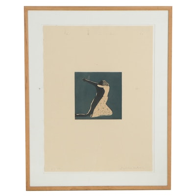 Fritz Scholder Etching With Aquatint of Abstract Figure, Mid-Late 20th Century