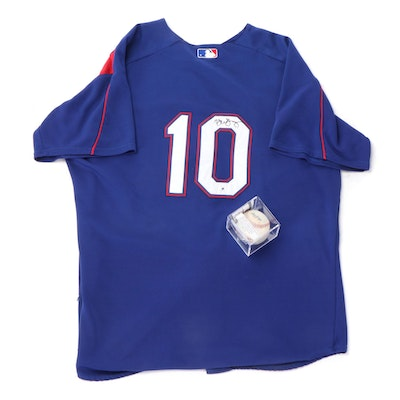 Autographed Michael Young Game Used Bullpen Jersey and Baseball