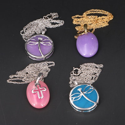 Dragonfly, Heart and Cross Necklaces with Sterling Silver and Diamond