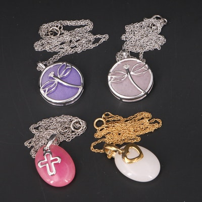 Dragonfly, Heart and Cross Pendant Necklaces Including Sterling and Diamonds