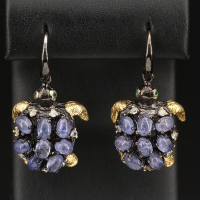 Sterling Turtle Earrings with Tanzanite, Topaz and Apatite