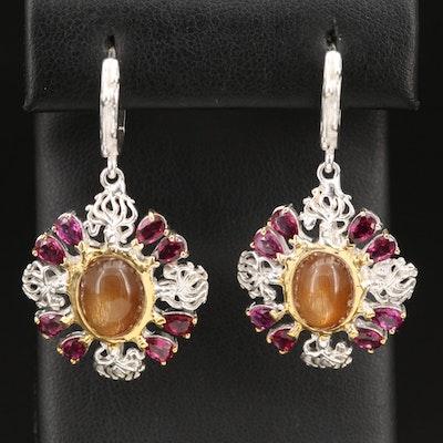 Sterling Star Sunstone and Garnet Drop Earrings