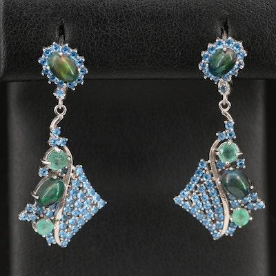 Sterling Opal, Emerald and Cubic Zirconia Drop Earrings