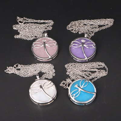Sterling Dragonfly Necklaces with Quartzite, Diamond and Mother of Pearl