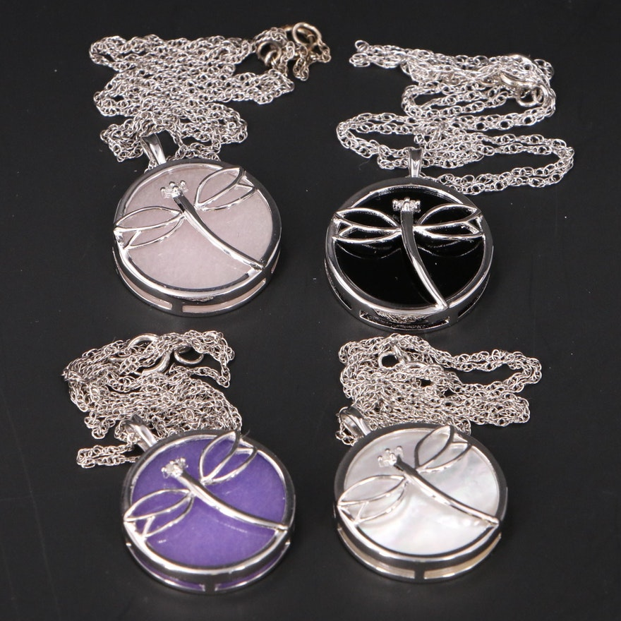 Sterling Dragonfly Necklaces with Mother of Pearl, Quartzite and Diamond