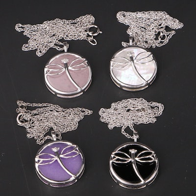 Sterling Dragonfly Pendant Necklaces with Mother of Pearl, Quartzite and Diamond