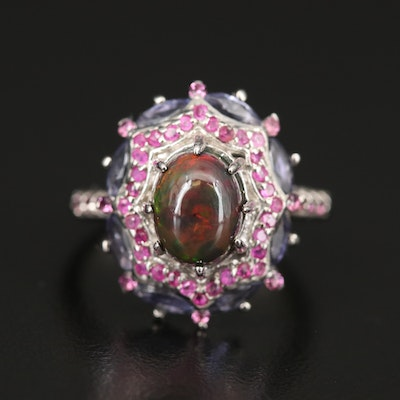 Sterling Opal, Ruby and Iolite Cluster Ring
