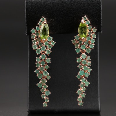 Sterling Peridot and Emerald Cluster Earrings
