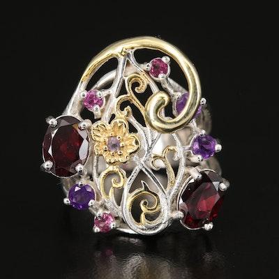 Sterling Garnet, Amethyst and Gemstone Swirl Openwork Ring