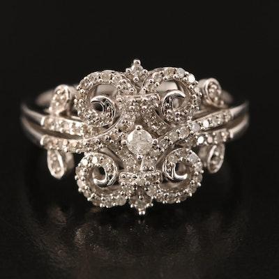 Sterling Silver Diamond Scrollwork Ring