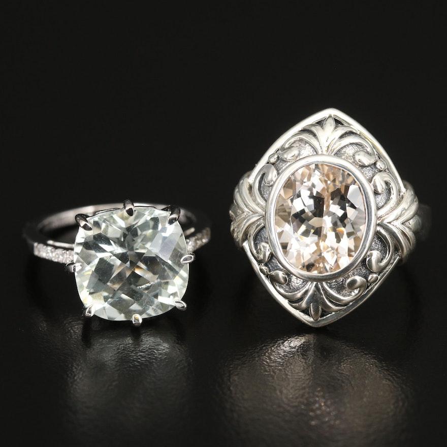 Sterling Topaz, Prasiolite and Diamond Rings