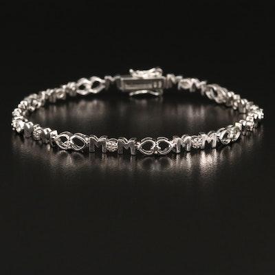 "Sterling Diamond ""MoM"" Link Bracelet"