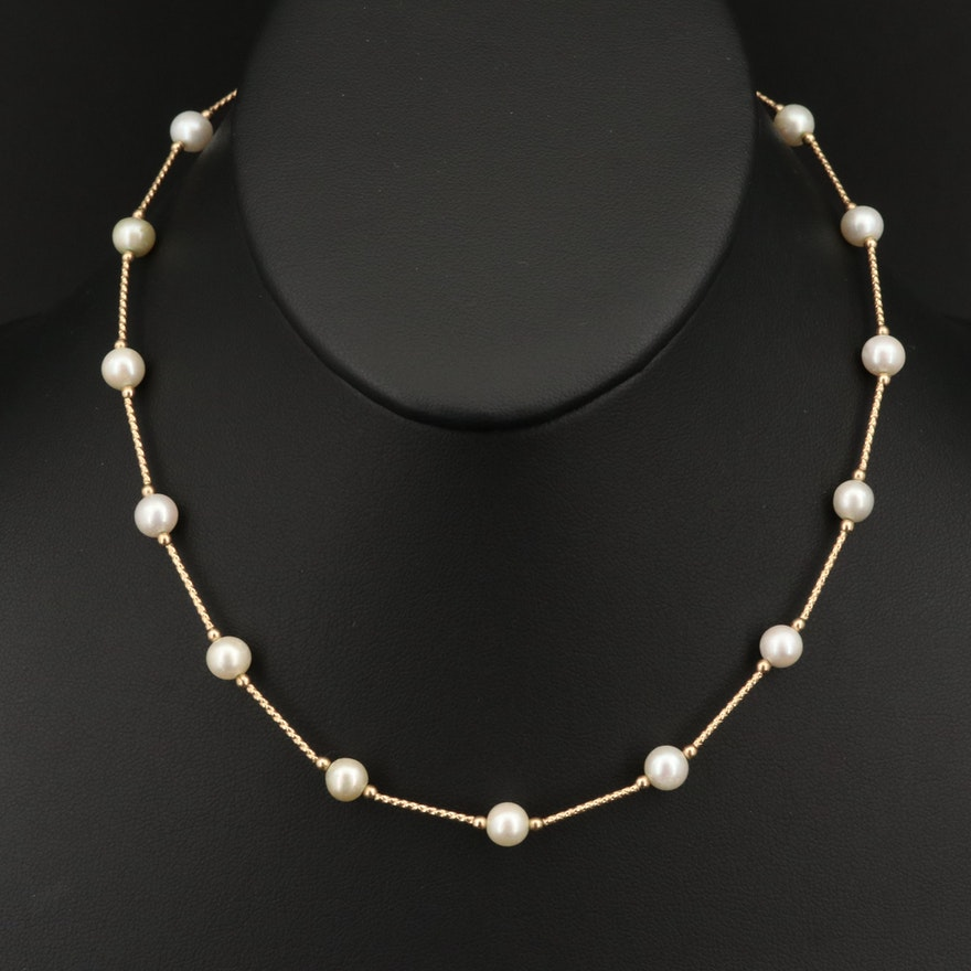 Pearl Station Necklace with 14K Clasp and Beads