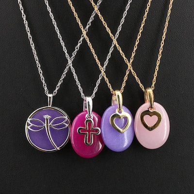 Sterling and Gold-Filled Necklaces Including Hearts, Dragonfly and Cross