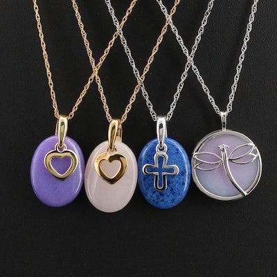 Sterling and Gold Filled Quartzite and Diamond Pendant Necklaces with Hearts