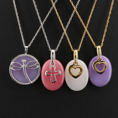 Sterling and Gold Filled Diamond and Quartzite Pendant Necklaces