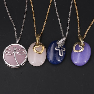Sterling and Gold-Filled Necklaces with Quartzite and Diamond