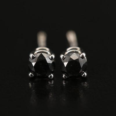 EFFY 14K WHITE GOLD BLACK DIAMOND, EARRINGS