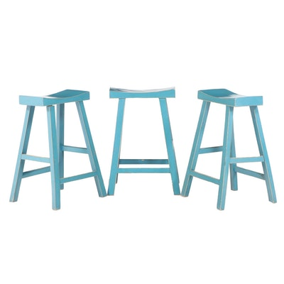 Three Chinese Style Painted Counter-Height Bar Stools