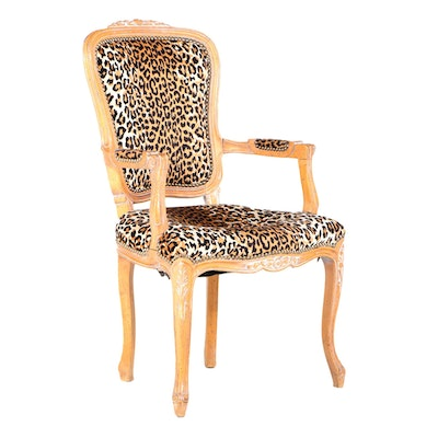 Louis XV Style Beech and Leopard Print Fauteuil