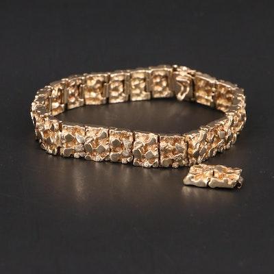 14K Gold Nugget Motif Panel Bracelet