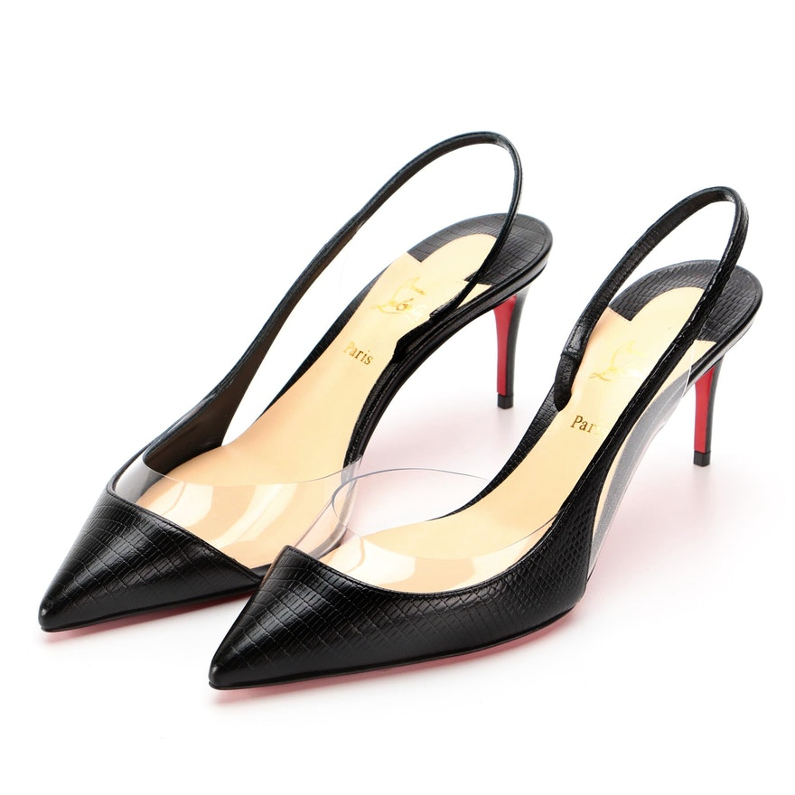 Christian Louboutin Optisexy 70 Slingbacks in Embossed Leather and PVC with Box