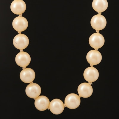 Vintage Faux Pearl Necklace with Sterling Clasp