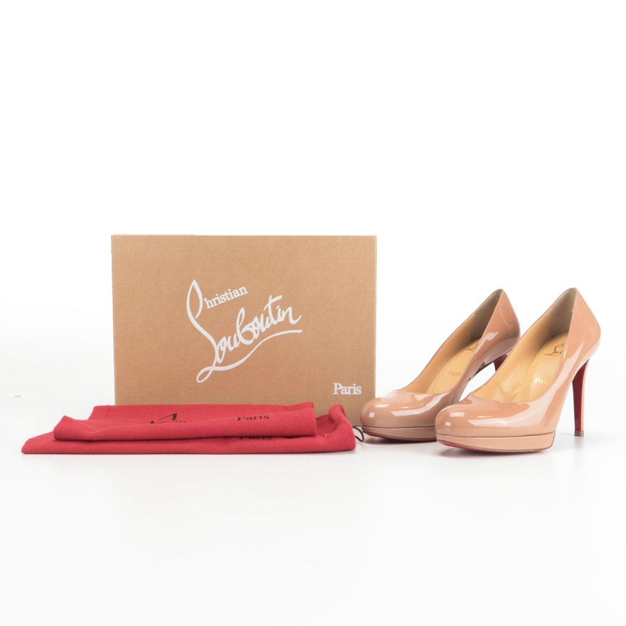 Christian Louboutin New Simple Pumps in Nude Patent Leather with Box