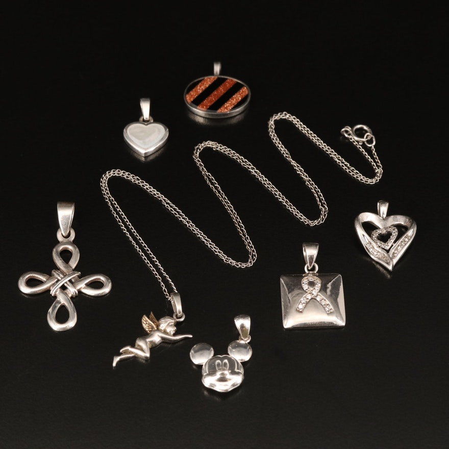 Sterling Silver Glass and Cubic Zirconia Pendants with Necklace