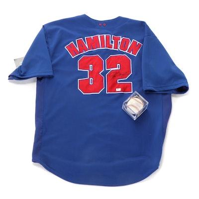 Josh Hamilton Signed Official Rangers Jersey and Baseball