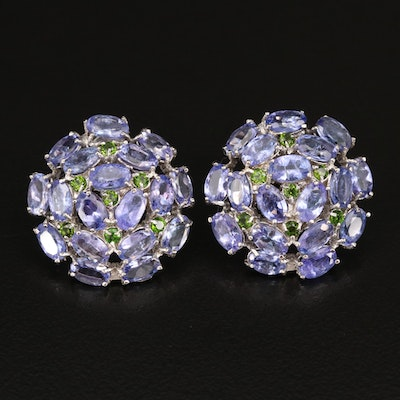 Sterling Silver Tanzanite and Diopside Button Earrings