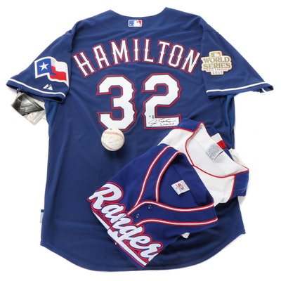 Josh Hamilton Signed Ranger Jersey, Ranger True Fan Jersey, Signed Baseball, COA
