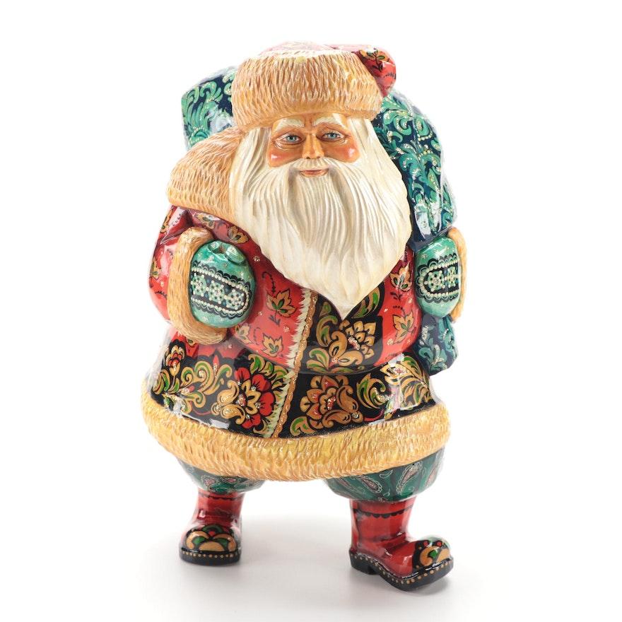 Russian Hand-Painted Wood Santa Figurine