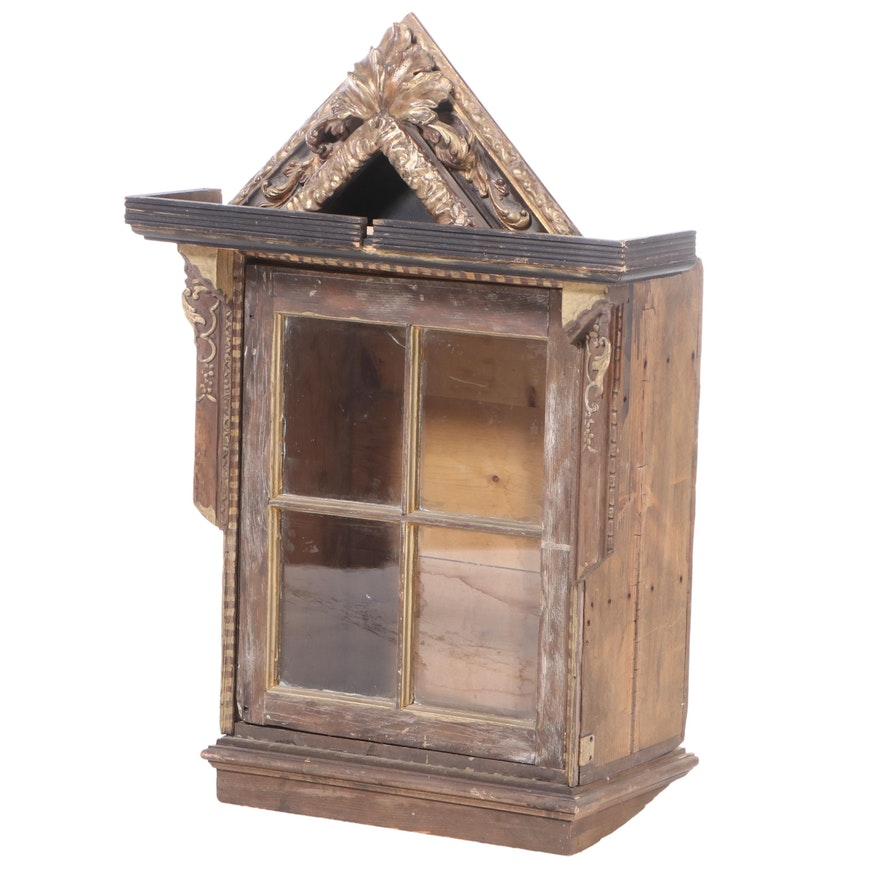 Bespoke Parcel-Gilt and Mixed Wood Display Cabinet
