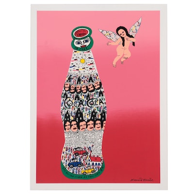 """Howard Finster Folk Art Serigraph """"Angel Baby with Coca Cola,"""" 1996"""