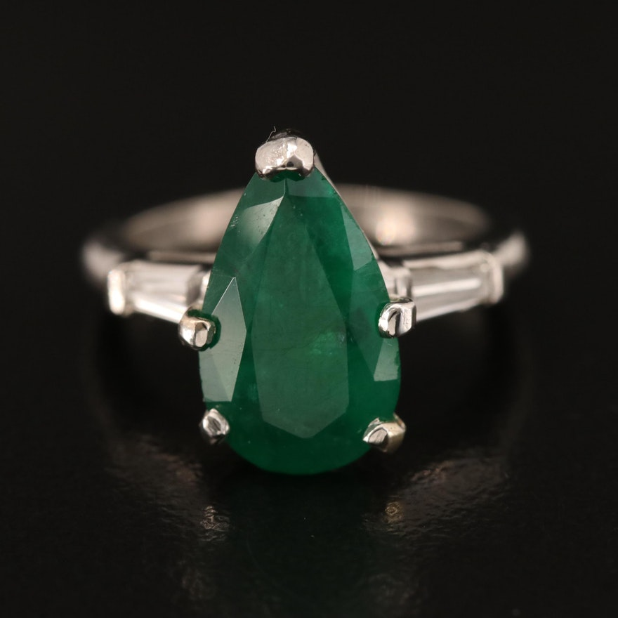 Platinum 3.17 CT Emerald and Diamond Teardrop Ring