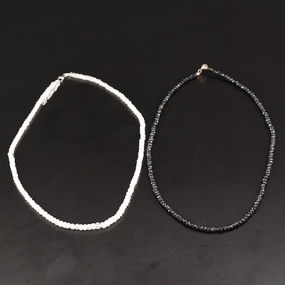 Moonstone and Black Spinel Bead Necklaces with Sterling Clasps