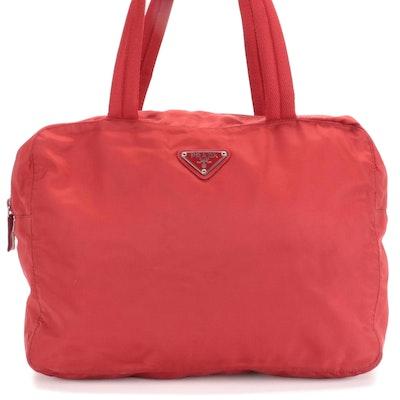 Prada Tessuto Top Handle Bag in Red Nylon