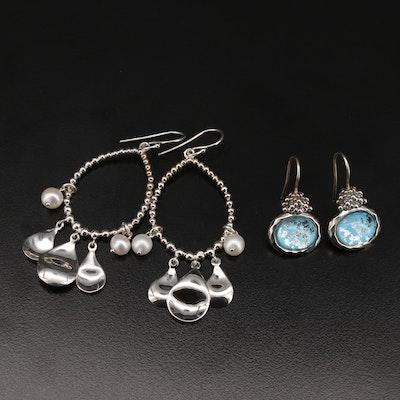 Michael Dawkins Sterling Pearl and Quartz Doublet Earrings