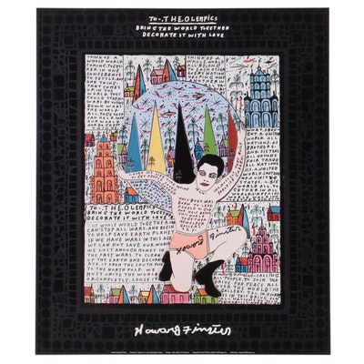 """Howard Finster Offset Lithograph """"To the Olempics"""""""
