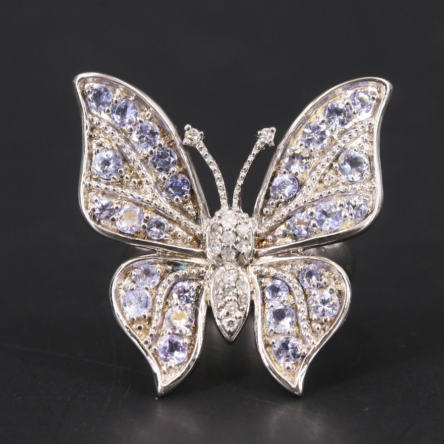 Sterling Tanzanite and Diamond Butterfly Ring