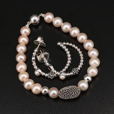 Michael Dawkins Sterling Pearl Bracelet and Earrings with Garnets