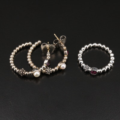 Michael Dawkins Sterling Garnet Ring and Earrings with Pearl Accents