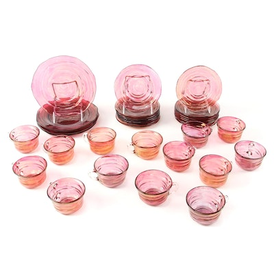 Iridescent Pink Blown Glass Plates, Cups and Saucers