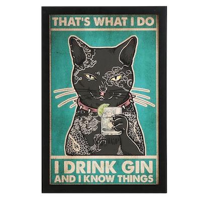 Giclée of Tattooed Black Cat Drinking Gin, 21st Century