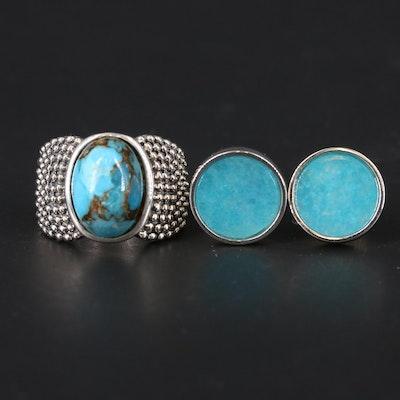 Michael Dawkins Turquoise Ring with Quartzite Stud Earrings